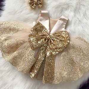 Girls Dresses Lace Kids Dresses Sequin Large Bowknot Tutu Party Dress Princess Formal Dresses Ball Gown Baby Clothes B4162