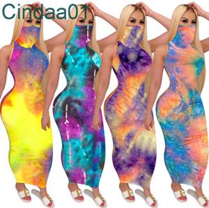 Designer Mulheres Maxi Vestidos Longos Vestidos Tie Tintura Sem Mangas Casuais Longo Saia Sexy U-Pescoço Grande Bang Balanço Vestuário de Verão Plus Size S-2XL