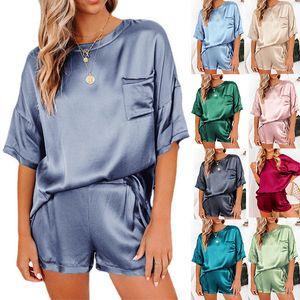 Women New Satin Silk Pajamas Ladies Home Suits Irregular Pajamas Set Nightwear Two Piece Set Lingerie Verano Mujer