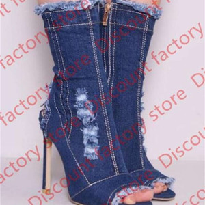 Black blue denim boots for women stiletto heels slingbacks peep toe tassles short boots fashion holes cut-outs mid-calf boots