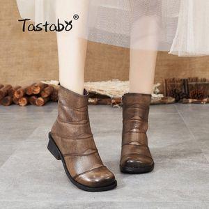 Tastabo En cuir véritable femme Bottines Bottines Khaki Black S88208 Low Heel Daily Womens Bottes Style Soft Soft S90D #