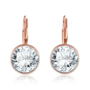 Orecchini in oro rosa Bella per le donne Cristallo bianco da Swarovski Fashion Stud Orecchini Accessori per gioielli del partito 134 T2