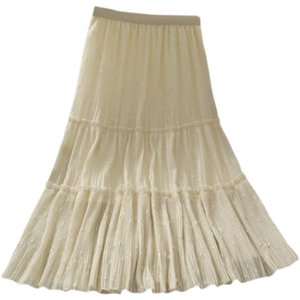 Fairy A Line Pleated Length Ladies Women Skirts FZ226 Black White Khaki High Quality Fairy Pattern Long Dresses