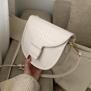 Stone pattern Saddle Crossbody bag 2021 Fashion New High-quality Leather Women's Designer Handbag Travel Shoulder Messenger Bag