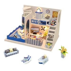 3D Puppenhaus Holz Miniaturen DIY Tiny Puppenhaus Möbel Kit Spielzeug für Kinder Casette in Legno Casas EN Miniatura T200116