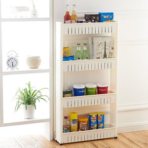 The multifunctional shelf can be used for storage in kitchen, bedroom, bathroom, etc. Plastic material, cost-effective, movable pulley, convenient and practical,