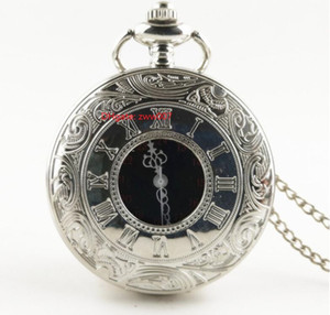Movimento de quartzo de alta qualidade 43mm grande preto mordomo colar retro jóias por atacado camisola de cadeia de moda relógio bolso relógio bolso