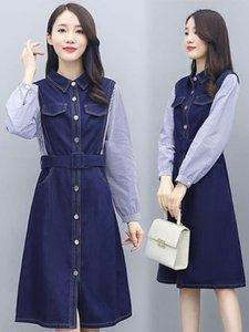 Shirt denim stitching women's dress 2021 autumn new fashion light mature wind waist show thin temperament skirt