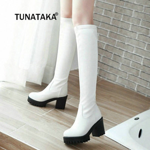 Winter Knee High Boots Womens Thick High Heels Boots Fashion Platform Shoes Black White Long Woman 2019 Dropshipping g8Da#