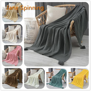 Jane Spinning Couverture de laine de laine à tricoter Couverture frangée douce Jolie cadeau Décor de luxe pour toute la saison à la main Dormir05 #