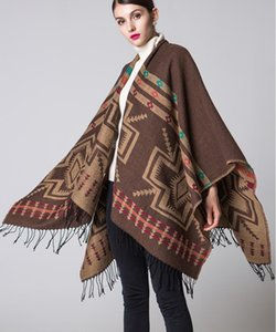 Women celebrity Cashmere shawl spring pluvial Multifunction Scarf Ethnic travel classic design cool cloak Fringed flower split thick shawl
