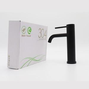 Grifo negro Acero inoxidable Grifo Grifo Cuarto de baño Faucets Blacked Hot Hot Mezclador Grifo Single Hole Agua Faucet Accesorios de baño