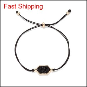 Fashion Druzy Stone Chram Bracelets For Women Healing Geometric Natural Stone Adjustable String Rope Chains Ban qylQym mj_fashion