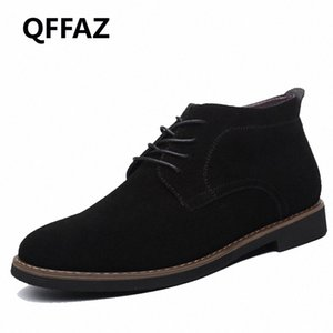 QFFAZ Marca masculina de gamuza de cuero zapatos para hombres botas sólidas casual cuero otoño invierno botines talla grande 38 45 botas no 7 bootie fr 51hx #