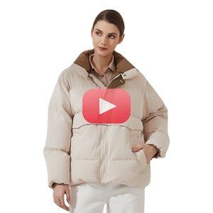 Женская куртка для футуса Новая мода Свободная пэчворк Parka Сплошная Теплая Верхняя одежда Женская Улица Зимнее Пальто Женская Одежда