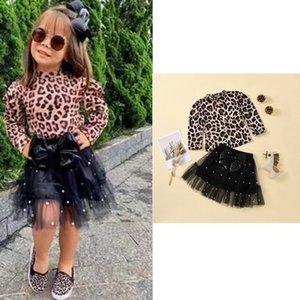 Großhandel Ins Neueste Herbst Kleinkind Kinder Mädchen Kleidung Anzüge Herbst Winter Leopard Langarm Tshirts + Röcke Anzug Frühling Kinder Outfits