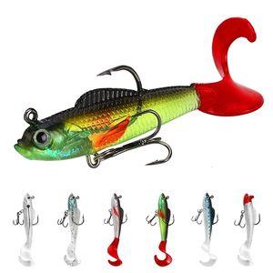 Шесть цветных рыбных дорог Sub Lange Rate Roll Хвост T-хвост Мягкий 9,5 г свинцовый головной крючок мелкий морской бас