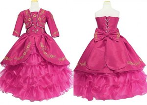 Hot Pink Gold Embroidery Ball Gown Flower Girls Dresses For Wedding 2021 with Jacket Satin Ruffles Long Cheap Prom First Communion Dress
