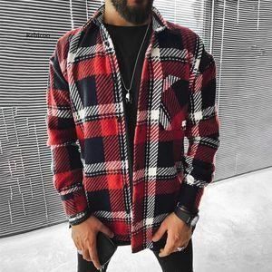 Uomini 2021 Primavera Moda Casual Colletto Giradischi Giacche da uomo Vintage Plaid Plaid Tops Top Cappotti Giacca maschio Streetwear Streetwear