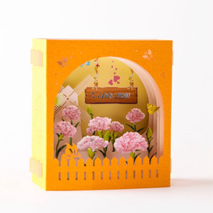 Mother's Day Greeting Card 3D Pop-Up Hollow Paper Carving Carnation Flowers Mother's Day Teacher's Day Greeting Cards GWD5201