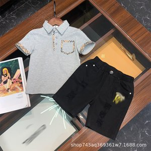 Gaoding boys' short sleeve polo shirt with Lapel + casual denim perforated shorts British style suit