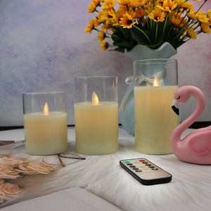 3PCS LED Glass Cup Candle Electronic Smokeless Candle Lights Night Light Party Flameless Candles For Windows Home Decoration Garden