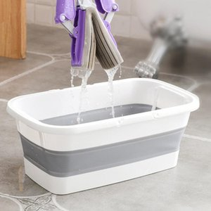 Folding Wash Silicone Mop Bucket Portable Handle Household Cleaning Tools Multifunction Collapsible Camping Car Wash Buckets