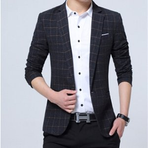 Men Formal Suits Single Breasted Plaids Blazers Plus Size Business Party Clothing Male Suit Blazer Clothing