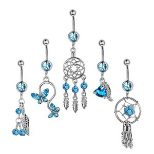 Sexy Dangling Navel Piercing Belly Button Ring Stainless Steel Bar Crystal Blue Zircon for Woman Girls Drop Body Jewelry
