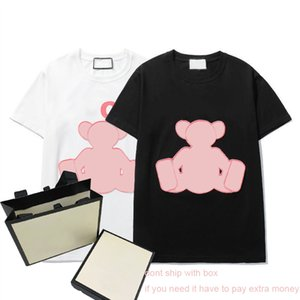 21ss Women T Shirt Fashion Letters with Bear Embroidery Pattern Tees Mens Summer New T-shirts Plus Size Boys Hiphop Streetwear