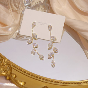 2021 new earring 925 silver Plated Leaves Earring Delicate Micro Inlaid Cubic Zircon CZ Stud Earrings Wedding Jewelry student girl gift
