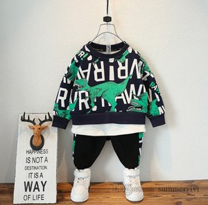 Boys cartoon clothing sets kids dinosaur letter printed fake two piece long sleeve sweatshirt+casual trouser 2pcs children sports outfits Q2270