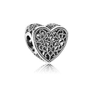Promotion 30pc Silver Big Hole Diy Loose Bead Love Heart Charms Jewelry Marking Charm Fit Pandora European Bracelet Necklace Women 115 U2