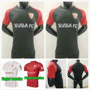 플레이어 버전 22 22 세비야 홈 축구 유니폼 2021 2022 Ocampos Navas Torres Rakitic Vazquez Kounde 3 축구 셔츠