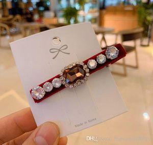 33 Light Luxury Rhinestones Hair Clips For Women Elegant Velvet Barrettes 6 Colors With Big Zircon Fashion Women Jewelry