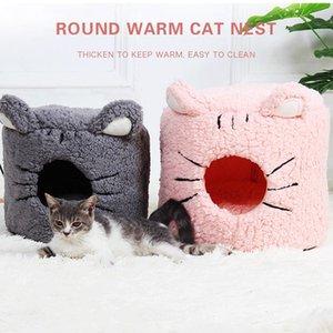 Inverno Quente Pet Cat Cama Casa Macio Dobrável Dobrável Não-deslizamento Pet Beds Bed Barraca Removível Lavável Cats Camas Almofada Produto