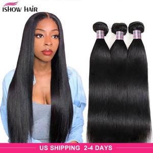 Ishow Mink бразильское тело прямо свободно глубоко воды человеческие волосы пучки необработанные наращивания человеческих волос Перуанские тела волосы плетение пучек