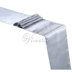 Wholesale- Free Shipping New Silver Satin Table Runner 12
