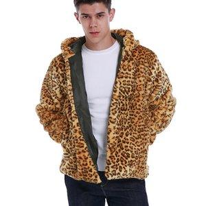 New Mens Autumn Winter Warm Faux Fur Leopard Hoodies Long Sleeve Jacket Men's Fashion Casual Fur Outwear Coat