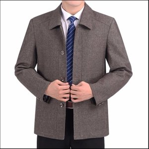 Spring M-5xl New And Autumn Middle-aged Men's Fashion Casual Jacket 40-50 Daddy Turndown Collar Thin Coat Plus Size Clothing
