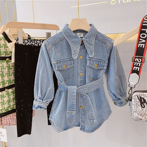 INS Girls jean dresses kids lapel long sleeve casual denim dress children single breasted belt cowboy dress fashion fall girl clothes