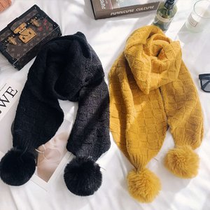 Autumn and winter new Korean pure color cashmere like women's scarf ball thickened warm knitting neck