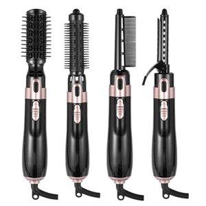 4 In 1-Hair Brush Electric Hot Air Kam Multifunctional Straight Curler Hair Negative Ions