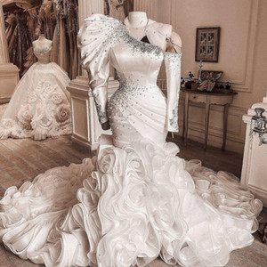 Luxury Mermaid Wedding Dresses One Shoulder Long Sleeves Beaded Ruffles Sweep Train Plus Size Wedding Bridal Gown vestido de novia