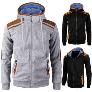 Mens Patchwork Cardigan Hoodies Zipper Fly Hooded Long Sleeve Sweatshirt Homme Sport Hoodies