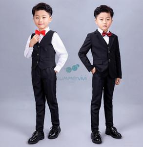 2021 Spring New Boys Performance clothing Kids black blazers waistcoat white shirts pants 8pcs sets boy wedding clothes A5920