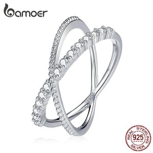 bamoer Sparkle Interwoven Ring 925 Sterling Silver CZ Zircon Finger Rings for Women Sterling Silver Fine Jewelry BSR165