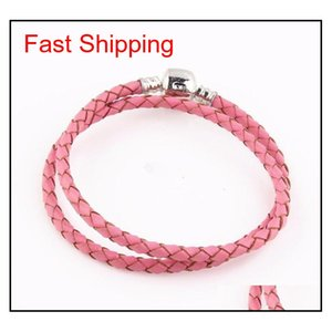 High Quality Fine Jewelry Woven 100% Genuine Leather Bracelet Mix Size 925 Silver Clasp Bead Fits Pandora Charm qylzCu dh_seller2010