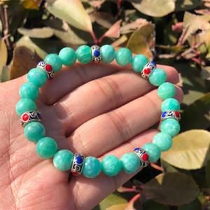 Natural Amazonite Bracelet Sky Blue Round Beads Crystal Quartz Healing Stone Women Jewelry Gift