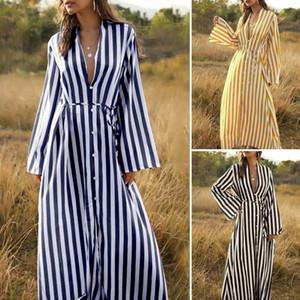 Kadınlar için Maxi Uzun Elbiseler 2021 Zanzea Bayanlar Çizgili Sundress Kadın Dantel Yukarı Vestidos Artı Boyutu 5XL Rahat Uzun Kollu Robe